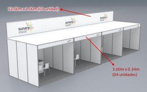 Punto de venta medidas 04 stands de 3x3 Sunarp